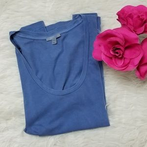 COS Distressed Blue Scoop Neck T Shirt